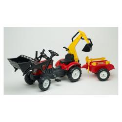 Детский трактор на педалях с прицепом, передним и задним ковшом красный RANCH , Falk