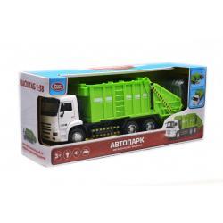 Мусоровоз Автопарк свет, звук, открываются двери, зеленый
