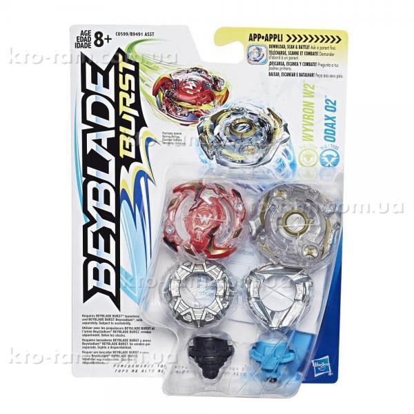 Beyblade 2 волчка в упаковке,Wyvron W2 And Odax O2, Hasbro