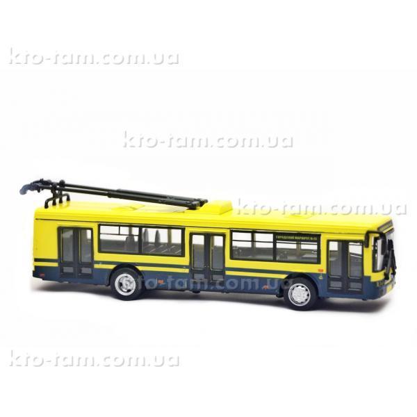 Троллейбус металлический инерционный Автопарк, желтый