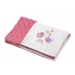 Мягкое одеяльце Minky patchwork птички, BabyOno