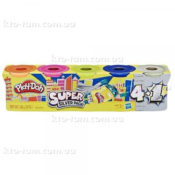 Супер набор из 4 баночек + 1 серебряная Play-Doh , Hasbro