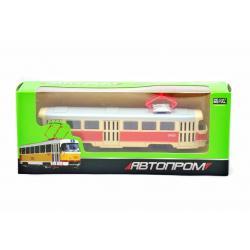 Трамвай металлический инерционный Автопром, красно-желтый