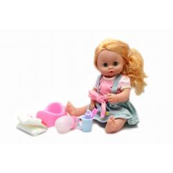 Кукла Baby Toby с аксессуарами в сером сарафане