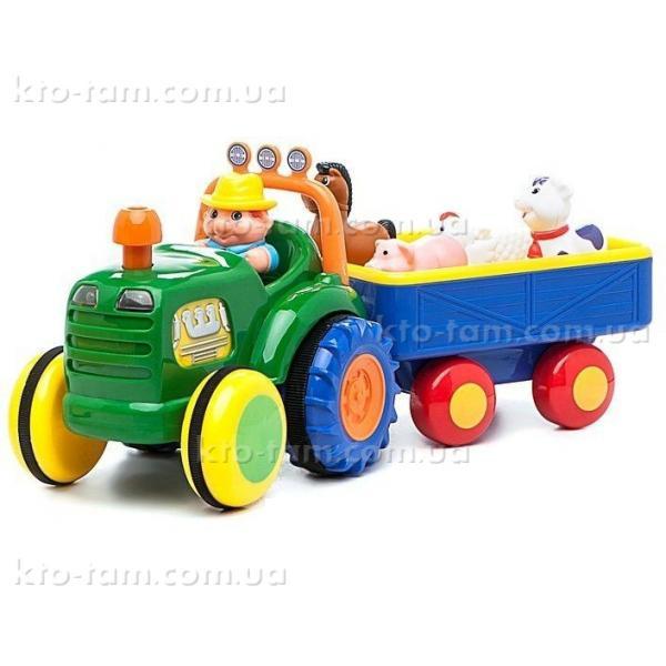 Музыкальная развивающая игрушка Трактор с трейлером, Kiddieland