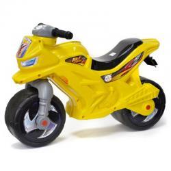 Мотоцикл для катания лимонный, с сигналом