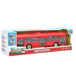 Автобус Автопарк свет, звук, открываются двери, красный