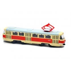 Трамвай металлический инерционный Автопарк, красно-желтый