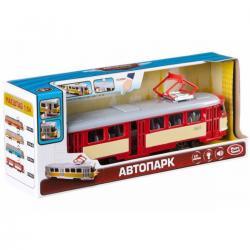 Трамвай Автопарк свет, звук, открываются двери, красный