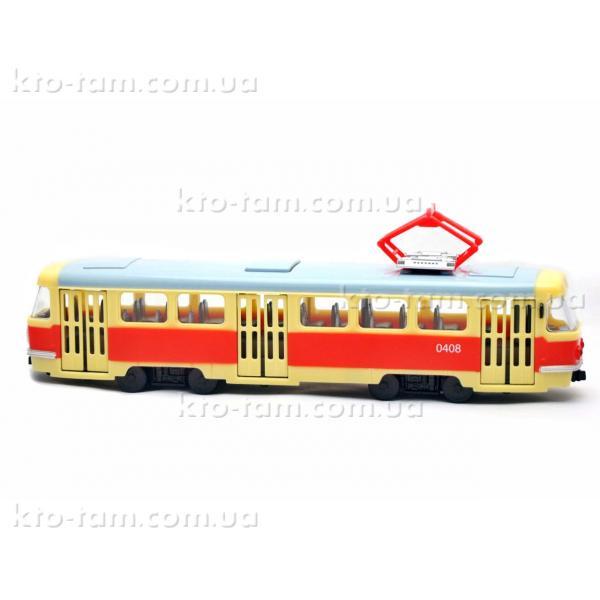 Трамвай Автопарк свет, звук, открываются двери,красно- желтый