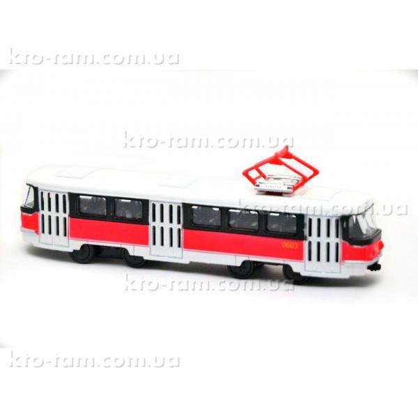 Трамвай металлический инерционный Автопарк , красно-белый