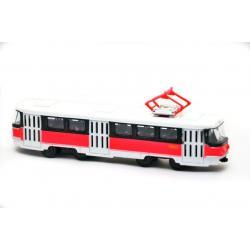 Трамвай металлический инерционный Автопарк, красно-белый