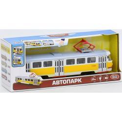 Трамвай Автопарк свет, звук, открываются двери, желтый