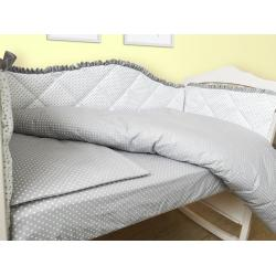 """Комплект в кроватку 120*60 """"Королевский"""" белый с сатиновой лентой (6 ед)"""