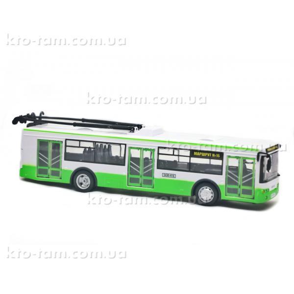 Троллейбус Автопарк свет, звук, открываются двери, зеленый