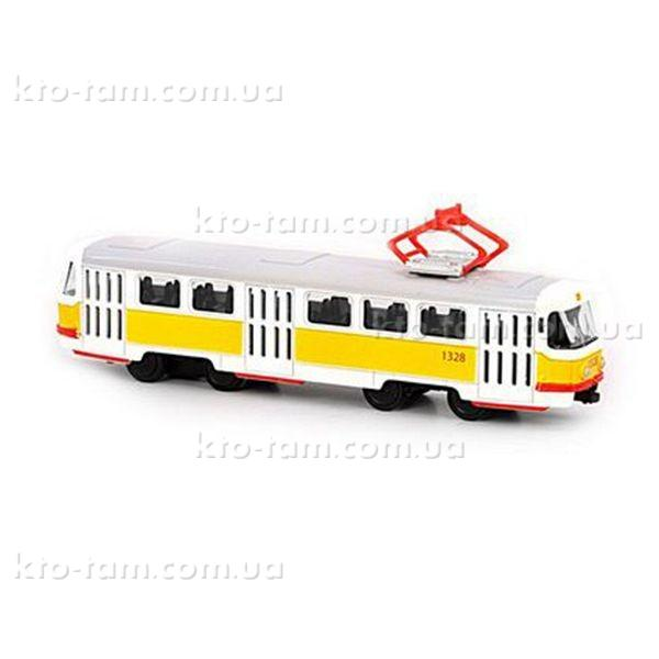 Трамвай металлический инерционный Автопарк, желтый
