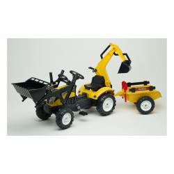 Детский трактор на педалях с прицепом, передним и задним ковшом желтый RANCH , Falk