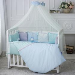 Комплект постельного белья Зайчики голубой