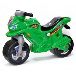 Мотоцикл для катания зелёный, с сигналом