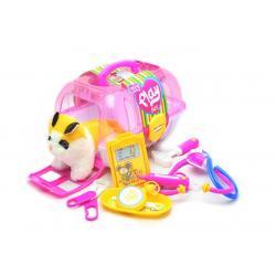 Набір доктора 8 предметів з кішкою в перенесенні, рожевий