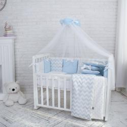 """Комплект постельного белья Shine голубой зигзаг ,""""Маленькая Соня"""""""