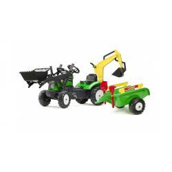 Детский трактор на педалях с прицепом, передним и задним ковшом зеленый RANCH , Falk