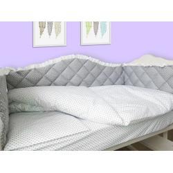 """Комплект в кроватку 120*60 """"Королевский"""" серый с белым кружевом (6 ед)"""