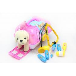 Набір доктора 6 предметів з собачкою в переносці, рожевий
